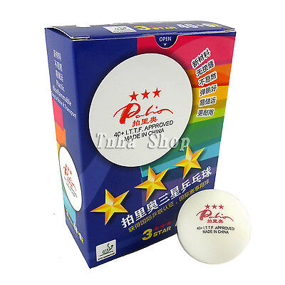 6x Palio New Material Seamless 3 Star 40+ White Table Tennis Ping Pong Balls