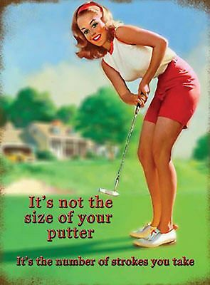 "Size of Putter  Vintage    metal wall sign      8"" X 6"""