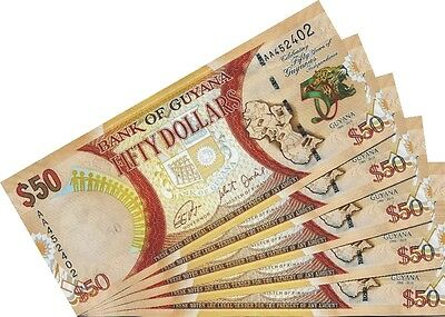 GUYANA - 50 Dollars 2016 Comm. Lot Lotto 5 pcs FDS - UNC
