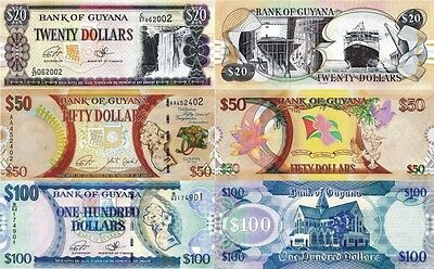 GUYANA - Lotto Lot 3 banconote 20/50/100 Dollars 2016 FDS - UNC