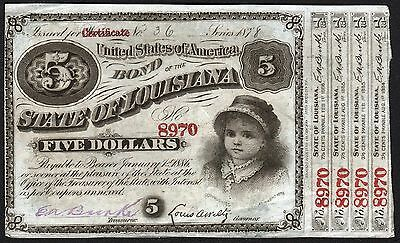 "1880 State of Louisiana: $5 ""Baby Bond"""