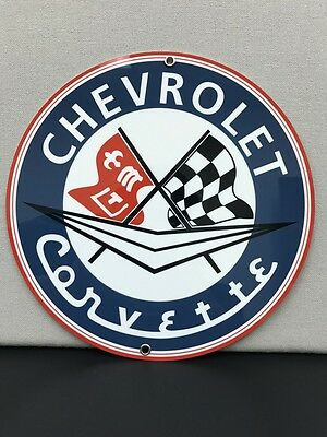Chevrolet chevy corvette racing vintage advertising sign oil gas