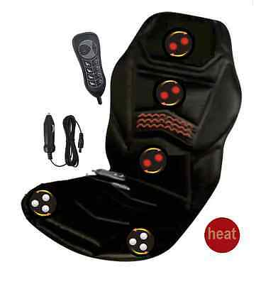 Heated Massage Chair Back Seat  Cushion for Car Van Relaxing Remote Control