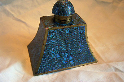 Antique Chinese Blue Cloisonne Ink Well with Insert, Hinged Lid, scd