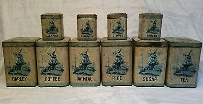 1910s 10 piece Tin Hinged Windmill Canister Set Metal Package Corp of New York