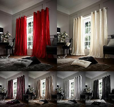 Luxury Faux Fur Fully Lined Shiny Curtains Ready Made Eyelet, Ring Top Tie Back
