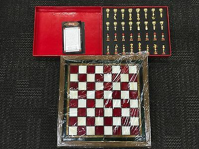 Coca Cola 24k Plated Franklin Mint Stained Glass Chess set in box