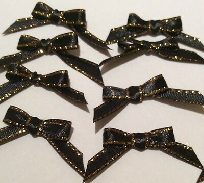10 Pretty in Black/Gold Ribbon bows  for card making/scrap booking help charity
