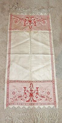 Antique Edwardian Arts & Crafts Damask Linen Red / Ivory Towel Goddess / Elves