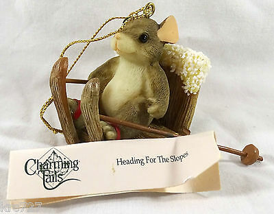 Charming Tails Ornament Heading For the Slopes skiing