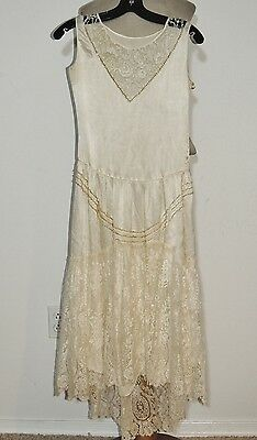 1920-30's Ivory Silk Dress w Pearl, Beads and Fancy Lace Skirt XS