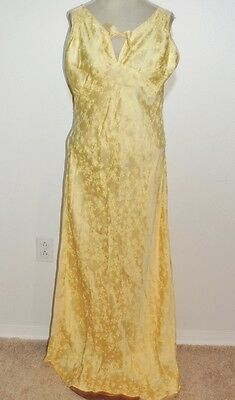 1930's Yellow Damask Silk Bias Cut Nightgown MED