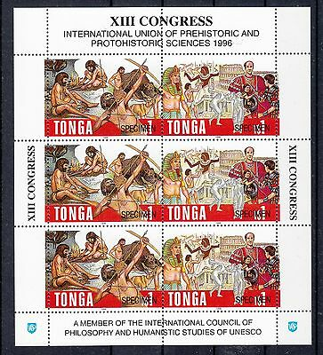 Tonga 1996 Prehistoric Science MS Overprinted Specimen.Sg 1354-5s