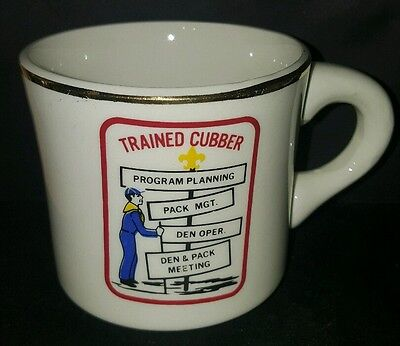 Vtg BSA Trained Cubber Cub Scout Boy Scout Coffee Cup Mug Den Pack Meeting