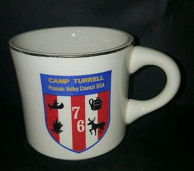 Vtg BSA Camp Turrell 76 FADDED GRAPHICS Passaic Valley Boy Scout Coffee Cup