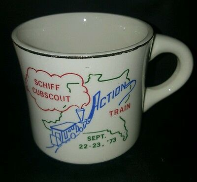 Vtg BSA Schiff Cub Scout Action Train Sep 22-23 1973 Boy Scout Coffee Cup