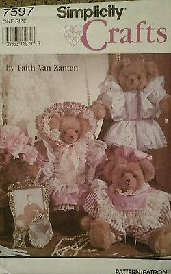 """Simplicity Sewing Pattern 7597 Stuffed 18"""" Bear with Three Outfits Uncut"""