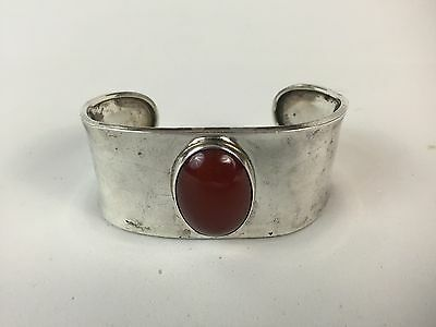 Sterling Silver Carnelian Wide Cuff Bracelet Stamped MEXICO CII 925 28.8 Grams