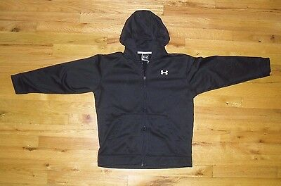 Youth Black Zippered Under Armour Hoodie Sweatshirt Size YLG