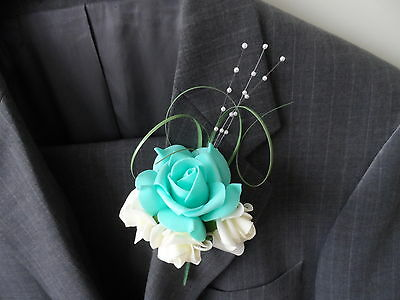 6 Ivory &Turquoise Green Foam Rose Corsage Buttonholes Wedding Flowers