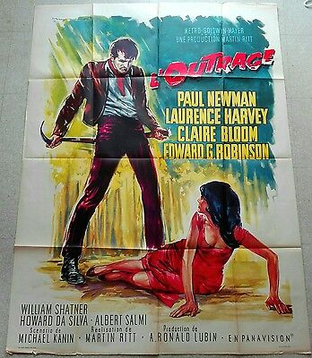 1964 THE OUTRAGE Paul Newman Laurence Harvey French 47x63 movie poster