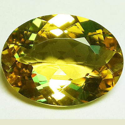 11.10 Ct Amazing Top Fire Unheated Natural Yellow Beryl Oval Cut Loose Gem