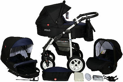 Eco Leather Pram Buggy 3in1 Stroller Pushchair Car Seat Carrycot Travel System
