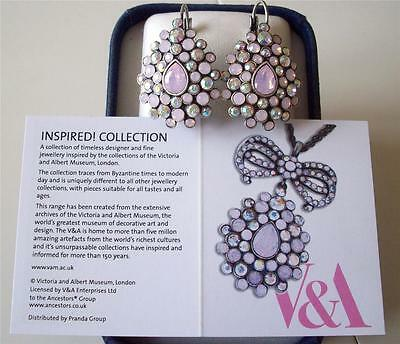 Sale *** V&a The Victoria & Albert Museum, Pink Garland Drop Earrings Rrp £66