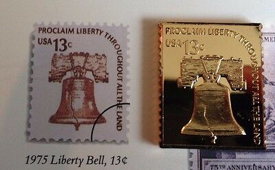 LIBERTY BELL GOLD ON  SILVER USPS 1975 13 Cents STAMP