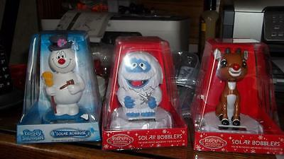 """Rudolph Bumble & Frosty Solar Dancers Bobbleheads Set 3 Approx 5"""" tall"""