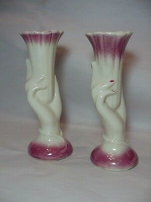 American Bisque Art Pottery -- Pair of  Nice Hand Vases - Hard to Find as a Pair