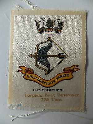 HMS Archer Torpedo Boat Destroyer (Ship), silk, WW1