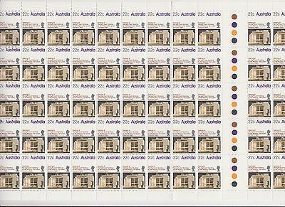Stamps 1980 Australia High Court Canberra 22c issue in gutter part sheet of 60
