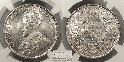 INDIA George V 1919-(b) Rupee NGC MS-64