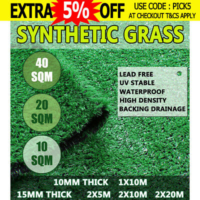 10-40 SQM Artificial Grass Synthetic Turf Plastic Plant Lawn Emerald 10MM 15MM
