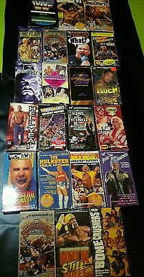 wwf wcw wwe vhs lot of 22 vhs tapes rare items some are new in seal