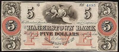 UNC 1800s $5 DOLLAR BILL HAGERSTOWN BANK NOTE OBSOLETE CURRENCY PAPER MONEY