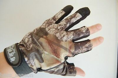Pack 3 Cut Finger Anti Slip Green Camo camouflage Fishing Gloves