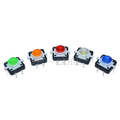 5pcs 12×12×7.3mm 5 Color Momentary Tact LED Tactile Push Button Switch DC 12V