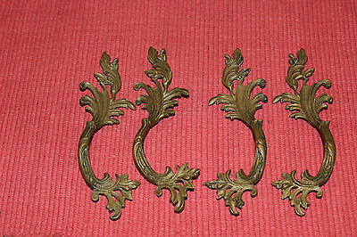 Vintage Art Deco Victorian Drawer Cabinet Pull Handle-4 Pieces-Gilded Gold Leafs