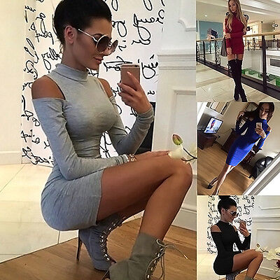 Women's Cowlneck Cold Long Sleeve Winter Sweater Jumper Bodycon Mini Party Dress