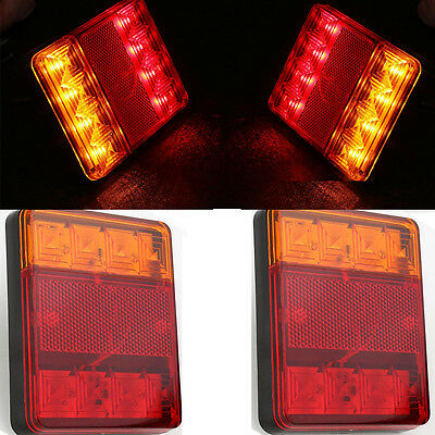 Left/Right LED Submersible Red Trailer Boat Rectangle Stud Stop Turn Tail Light~
