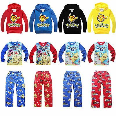 Pokemon Pikachu Toddler Kid Hoodie Cartoon Sweater Pyjama Sleepwear Outfits Sets