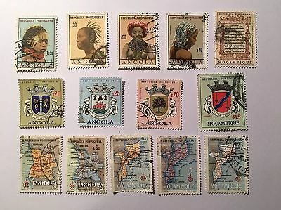 14 Postage Stamps From Angola And Mozambique (1960-, Cancelled, MNH)