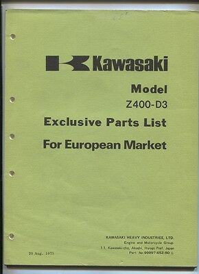 KAWASAKI :Z 400+D3  parts list for european market 1975