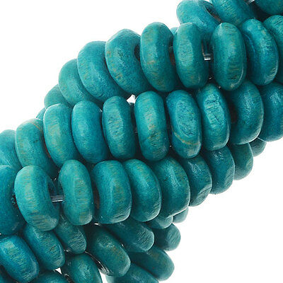Smooth Painted Maple Wood Beads, Rondelle 6-6.5mm, 16 Inch Strand, Teal Blue