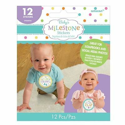 Baby's First Year Stickers Birthday Party Favours Milestone 12 PK Neutral