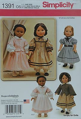 """Simplicity 1391 PATTERN for Vintage 18"""" DOLL CLOTHES Colonial Prairie Victorian"""