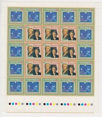 Stamps Australia 50th anniversary women in parliament pane of 25 inc gutter