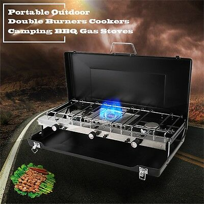 Portable Heater Double Gas Dual 2 Burner Camping Cooker Fishing BBQ Stove Black